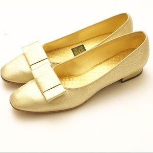 Paul Green Glitter Bow Flat Holiday Party Gold 7.5